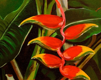 """Heliconia I  8""""x10""""  Fine art print with 11""""x14"""" double matted print on archival luster paper"""