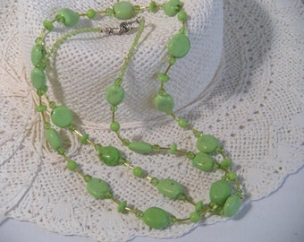 Beaded Long Necklace, Lime Green Turquoise Nuggets, .925 Sterling Silver