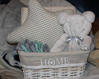 Mini baby gift basket-gloves cushion star and bear towel Terry
