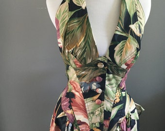 1980s Hawaiian Dress - Full skirt Halter Dress