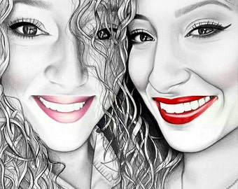Custom pencil portrait on paper. Realistic pencil drawing. Personalized drawing. Unique sisters present.