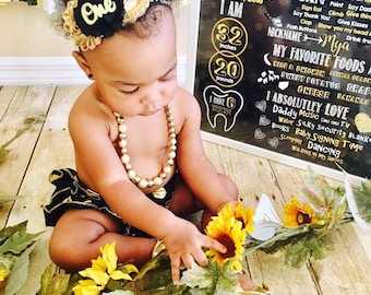 Black and Gold First Birthday Headband, Girls 1st Birthday Outfit, 1st Birthday Headband, Smash cake Outfit