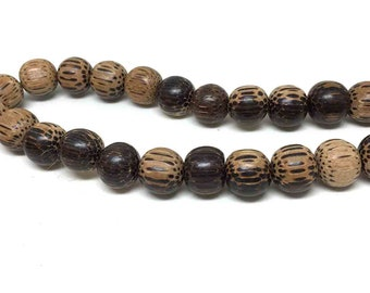 Round Coco Wood Beads. Tiger. Boho Beads. Brown. Tan. 15mm. Full Strand. 14 inch. One (1) Strand.