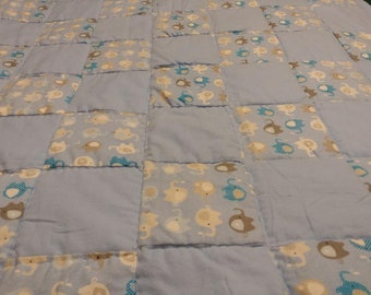 Elephant Baby Quilt with a Change Mat,Portable Baby Change Pad,Car Seat Quilt and Change Pad,New infant Blanket