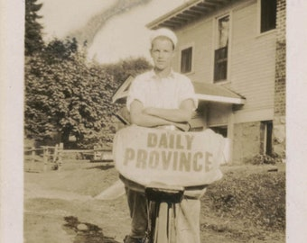 vintage photo 1926 VAn COuver BC Province Canada Newspaper Boy on his Bike Paper Route