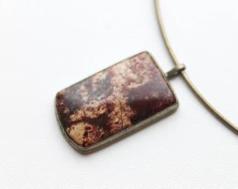 Stone Necklace - Jasper Necklace - Healing Stone Jewelry -Boho Necklace - Gemstone Necklace - Crazy Lace  Boho Stone Pendant Free shipping