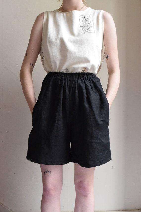 Black Linen High-waist Shorts     Print Optional