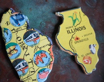ILLINOIS Vintage puzzle pieces- set of 2