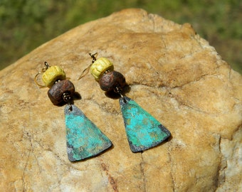 Rustic Bohemian Stoneware Clay Bead Earrings