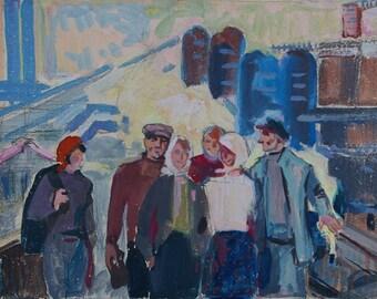 Soviet Workers,Soviet youth,Socialist Realism,collective farm,kolkhoz,original painting,Usikova E. Sketch of 21-30 kg. 70е 0,1