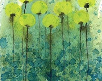 Watercolor Painting: Watercolor Flower Painting -- Art Print --  Underwater Flowers -- Yellow Flowers -- 14x18