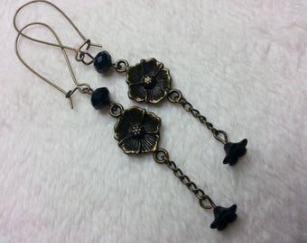 Black flower dangle earrings