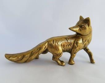 Vintage Brass Fox Sculpture/Solid Brass Fox Figurine/Gold Fox Cabin Decor/Lodge Decor/Fox Statue/Brass Paperweight