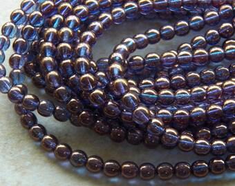 6mm Bronze Illusion Czech Druk Traditional Bohemian Glass Beads, Full Strand (IND1CZ07)