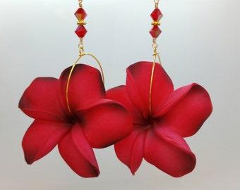 Red Flower Earrings Plumeria, Frangipani Floral Earrings, Hawaii Jewelry Hawaiian Jewelry, Tropical Flower Flower Jewelry Floral Jewelry 036