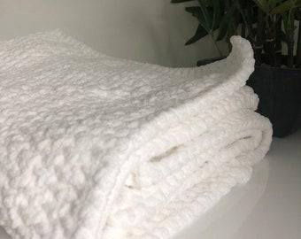 White Square Chenille Blanket // Soft Crochet Blanket // Baby Blanket