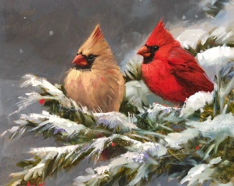 "Snow Day, 10""x10"" , oil on canvas, winter, cardinals, Christmas, birds, original, krista eaton"