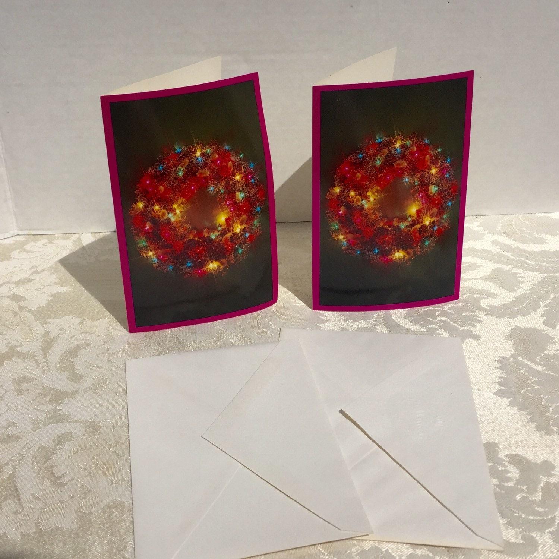 Vintage hallmark christmas wreath cards purple glossy photo zoom m4hsunfo