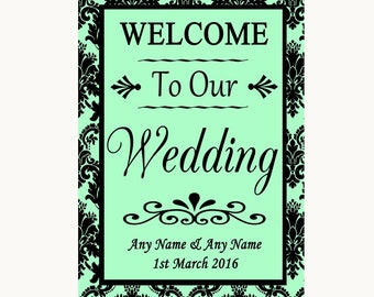 Mint Green Damask Welcome To Our Wedding Personalised Wedding Sign