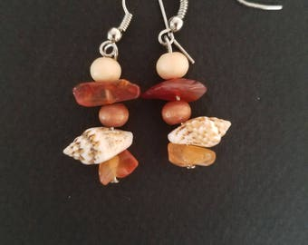 Shell, Wood and Beach Glass Drop Earrings