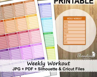 50% SALE, Weekly Workout Printable Planner Stickers, Erin Condren Planner Stickers, Weekly Workout Printable Stickers - Cut Files