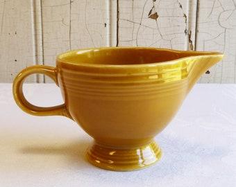 Vintage Antique Gold Fiesta Ironstone Creamer  - Mid-Century Homer Laughlin Fiestaware Cream Pitcher - 1970s Kitchen Decor