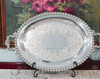 Large Silver Plate Serving Tray - Vintage Wilcox Serving Tray with Handles - Silver Butler Tray - Silver Waiter Tray