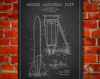 1961 Rocket Launch Unit Patent, Canvas Print, Wall Art, Home Decor, Gift Idea
