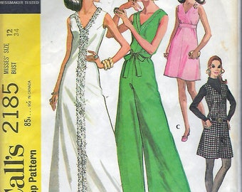 """Vintage 1969 McCall's 2185 Mod Dress & Pantdress In Two Lengths Sewing Pattern Size 12 Bust 34"""""""