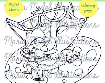 SUMMER FOX- coloring page + digital stamp for scrapbooking, etc