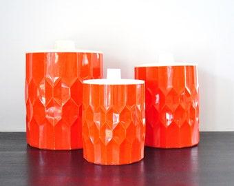 Set of Three Orange Honeycomb Kitchen Canisters, Vintage Kitchen