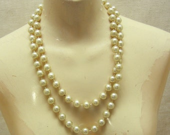 58 Inches of Lovely Vintage Silvery Plastic Pearls