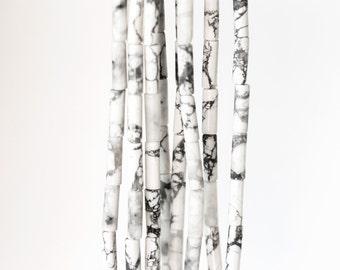 2031 White howlite beads 13mm Cylinder beads Gray howlite tube beads Howlite gemstone Natural howlite Howlite stone Semi precious stones