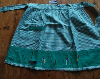 Apron - Vintage Green and White Gingham with Croquet Image