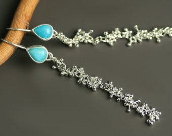 Amazonite Long Dangle Earrings with Handmade Sprout Chain