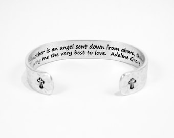 """Godmother Gift - """"A Godmother is an angel sent down from above, thank you God for giving me the very best to love."""" 1/2"""" hidden message cuff"""