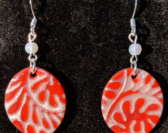 Red and White floral swirls
