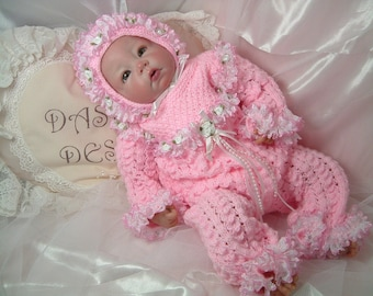 Knitting pattern for romper suit to fit 18 inch - 22 inch reborn or small baby