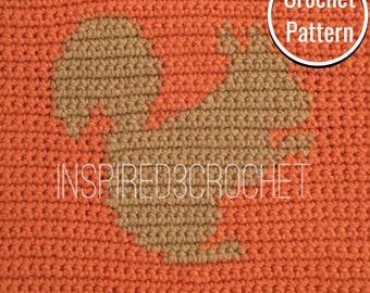 PDF Crochet Block Pattern - Squirrel Blanket Panel Block - Squirrel Silhouette Square  - crochet block