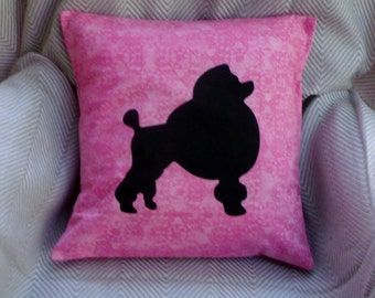 Poodle cushion cover - black silhouette on Hot Pink cotton - CLEARANCE