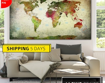 Canvas Map, World Art Canvas, World Map Print, Colorful World Map, Travel World Map, Large World Map, Map of the World, Wall World Map