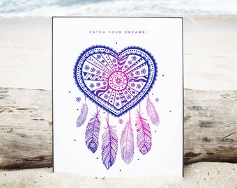 Bohemian heart dream catcher print with ethnic motifs. Heart blue and pink mandala with feathers.