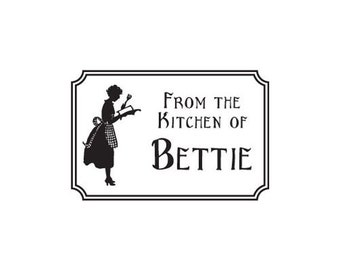 retro woman from the kitchen of custom Rubber Stamp silhouette