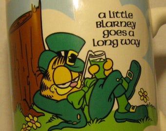Garfield Enesco 1978 Coffee Mug A Little Blarney Goes a Long Way St Patricks Day