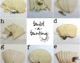 Wooden Bunting Flags, Banner Supplies, Bunting, Banner, Kid's Birthday, Nursery Decor, Shower Decor, Party Decor, Wedding Decor, Wedding