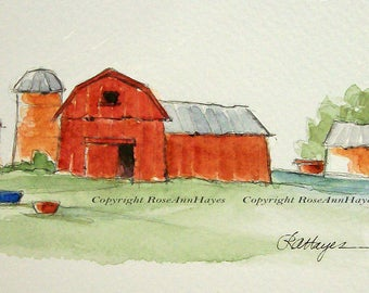 Red Barn and Silo Original Watercolor Painting Farm Landscape Housewarming Country