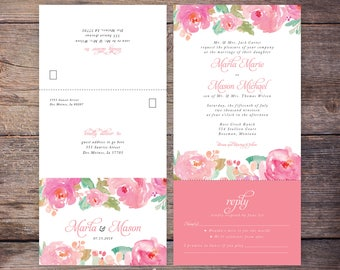Seal and Send Wedding Invite, Printable, Flower, Watercolor, Pink Floral, Send N' Seal Wedding Invitation, All in one invitation - Marla