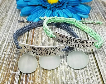 Coordinates Bracelets, Custom Couples Bracelets, Set of 2, Couples Bracelet, Lattitude, Longitude, Bracelets, Macrame Bracelet, Valentine
