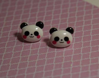 Cute kawaii panda silver plated stud earrings