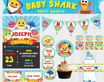 PinkFong Baby Shark EDITABLE Birthday Party Bundle/ Party Set/ Party Kit Printable